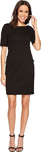 Adrianna Papell Women's Micro Ottoman Lace Up Sheath, Black, 14