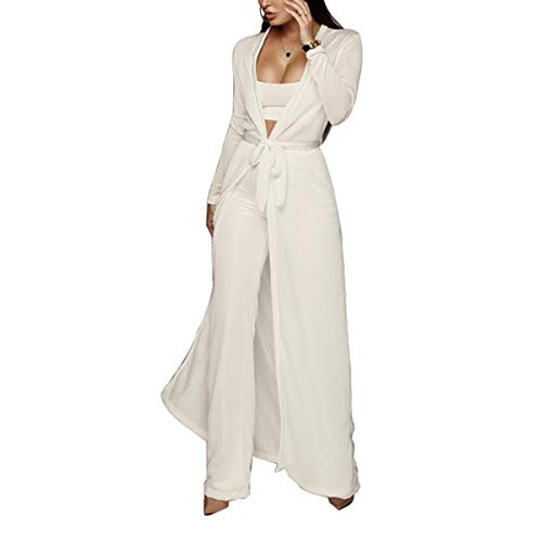 Women Knit Three Pieces Set Cami Crop Top High Wiast Straight Leg Pant Long Coat (Color : White, Size : M)