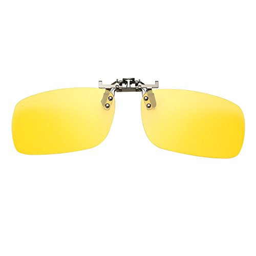 Happy Hours - Rectangle Night Driving Lens Clip On Glasses Rimless / Radiation UV Protected / Reduce Glare From Headlamps, Snow, Sun, Fits all - Rose Amber Eyewear