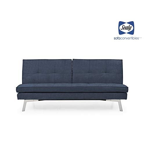 (Sealy Jackson Transitional Split-Back Convertible Sofa in Blue)