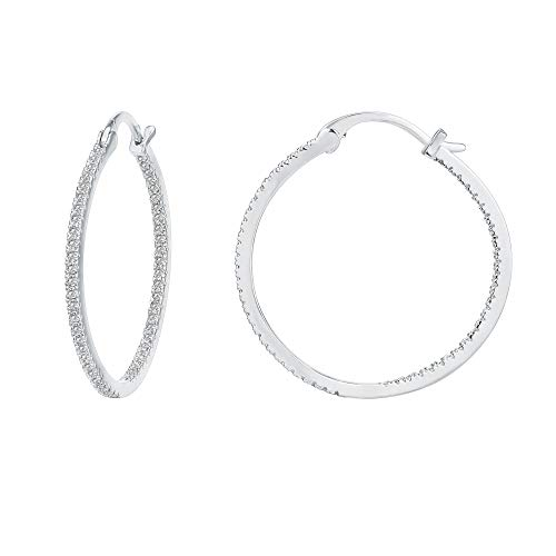 (PAVOI 14K Gold Plated 925 Sterling Silver Post Cubic Zirconia Hoop Earrings | Large White Gold Hoops)