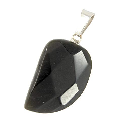 Steampunkers USA Unchained Wild Earth Collection - 25mm Faceted Leaf Black Onyx - Pendant Only - Natural Gemstone Tribal Ethnic Carved Necklace - Stainless Steel Bail ()