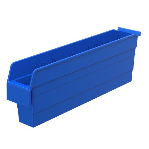 Akro-Mils 30844 ShelfMax 8 Plastic Nesting Shelf Bin Box, 24-Inch x 4-Inch x 8-Inch, Blue, 8-Pack by Akro-Mils