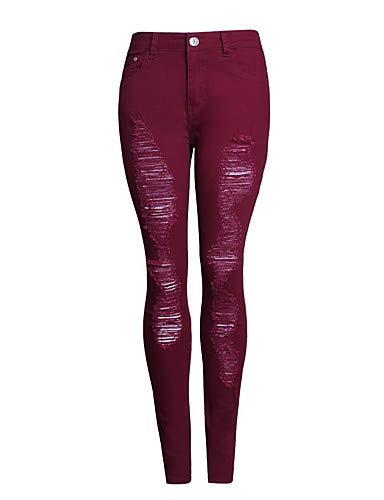 Unie pour Gland amp; Femme YFLTZ Couleur Basic Noir Pantalon Jeans Wine Rouge wtqTH