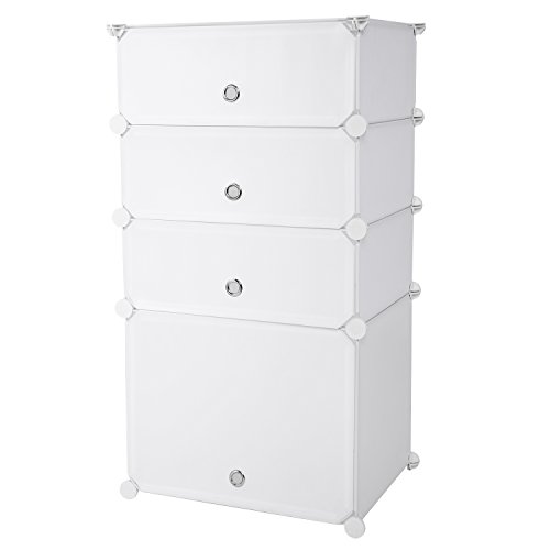 Flagup 4-Cube Storage Cube Closet Organizer, Storage Drawer Unit Multi Use Modular Organizer Plastic Cabinet, 3 Cubbies and 1 Big Cubes