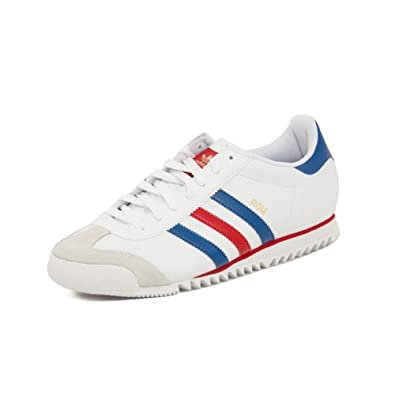 Adidas Originals Rome Leather White Blue Red Stripe Trainers Mens Size 7  UK  Amazon.co.uk  Shoes   Bags bb9fe2a0d515