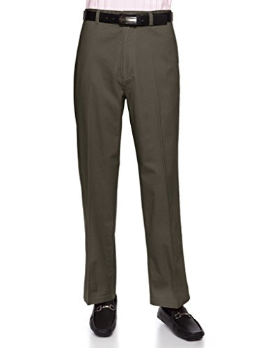 AKA Men's Wrinkle Free Cotton Twill - Traditional Fit Slacks Flat-Front Chino Straight-Legs Casual Pants Olive 38 Short