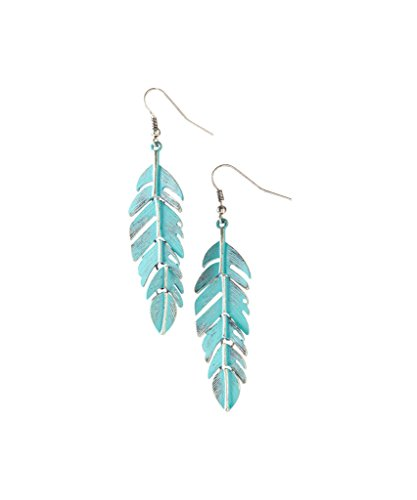 (Lux Accessories Gold Tone Turquoise Patina Burnished Metal Leaf Tree Of Life Feather Dangle Earrings )