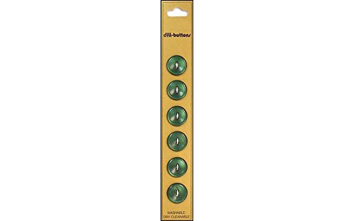 Dill Buttons 14mm 6pc 2 Hole Olive Green