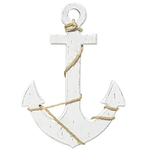 Anchor Decoration - WHW Whole House Worlds Mariners Anchor Wall Art, Nautical Painted Wood, Lightly Distressed with Twine Details, Rustic White, 11 3/4 Inches Tall, Cape Cod Style