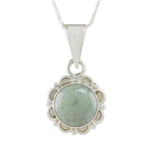 NOVICA Light Green Jade .925 Sterling Silver Flower Pendant Necklace, 18.0
