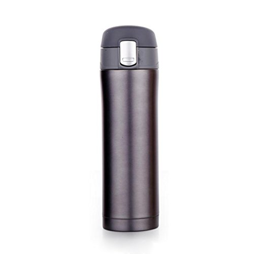 Ocathnon Insulated Travel Coffee Mug Portable Stainless Steel 350ml/500ml Thermos Water Bottle BPA-Free | Lid Lock Prevents Leaks & Spills (Silver-Gray, 350 ML)