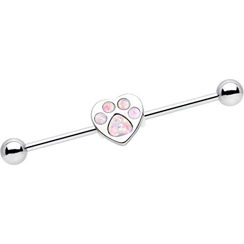 Body Accentz Animal Lover Opal Paw Print Industrial Barbell 14g 3//8