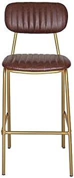Imagen deTaburete de Bar Vintage Acero Dorado y semipiel marrón Jerald