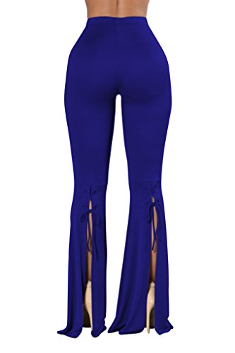 COCOLEGGINGS Ladys Lace Up Inspired 70s Flared Bell Bottom Pants Blue - 70s Inspired
