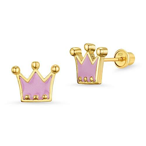 14k Gold Plated Enamel Princess Crown Baby Girls Screwback Earrings with Sterling Silver Post