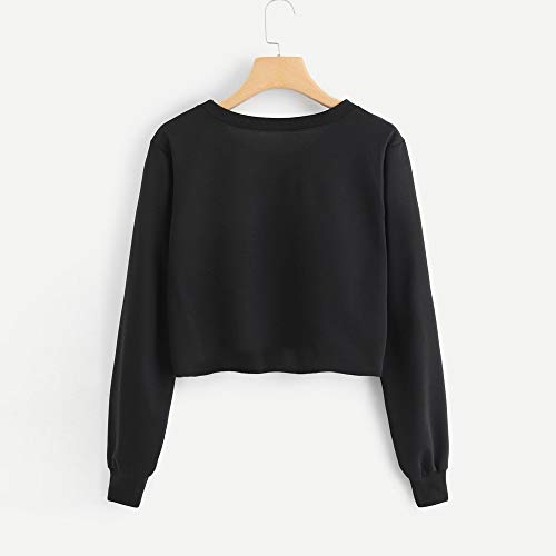 maglione autunno pullover corto e primavera taglio lunga stampa lettera Nero moda Vovotrade❤TOKYO semplice donna Felpa inglese manica EgF7q