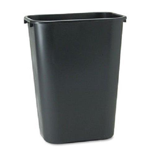 10.25-Gal. Deskside Plastic Rectangular Wastebasket, Black