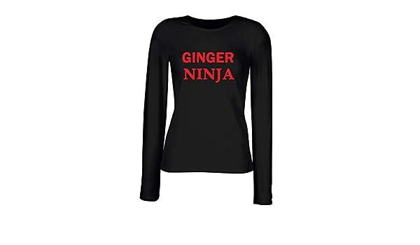 T-Shirt para Las Mujeres Manga Larga Negra TR0053 Ginger ...