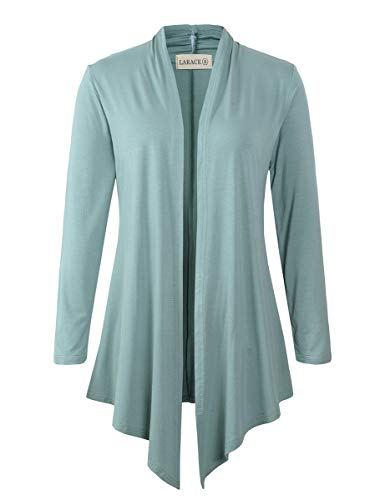 ont Cardigan Plus Size Drape Long Sleeve Lightweight Cardigans S-3X(S, Greyish Green) ()