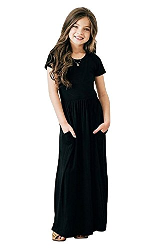 Miss Bei Girls Dresses Short Sleeves Dress Summer Long Holiday Maxi Dress with Pocket Size 4-10T (Black, 4-5Years)