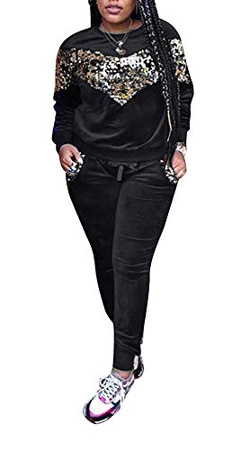 DINGANG Women Velour Tracksuit Set 2 Piece Outfit Long Sleeve Sequins Sweatshirt Sweatpants Jogger Sets