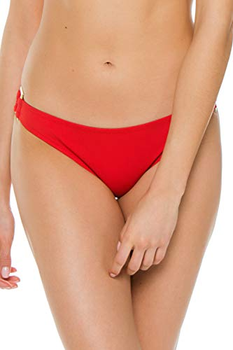 Heidi Klein Women's Body Ring Side Hipster Bikini Bottom Red M (Hipster Ring Bottoms Side)
