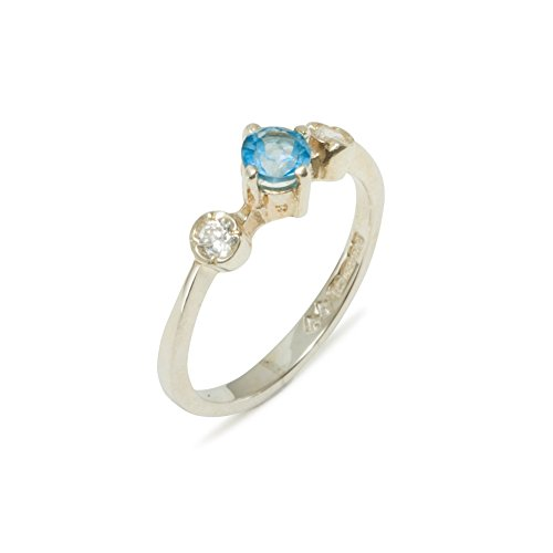 925 Sterling Silver Natural Blue Topaz & Diamond Womens Trilogy Ring (0.11 cttw, H-I Color, I2-I3 Clarity) by LetsBuySilver