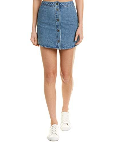 (BB Dakota Women's Macyn Button Front Denim Skirt, Light Blue, 8)