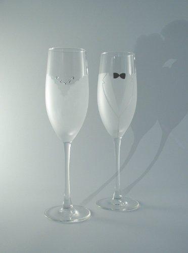 RaeBella Weddings Crystal Accent SWAROVSKI BRIDE & GROOM Champagne GlassFlutes Crystal Heirloom Frame
