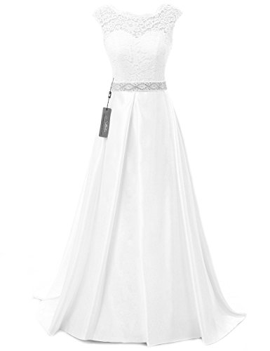 JAEDEN Vintage Wedding Dresses for Bride Simple Bridal Gown Cap Sleeve White US10