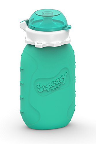 Reusable Baby Food Pouch + Squeeze, Portable, Refillable Baby Food Container,...