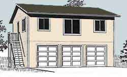 Garage Plans: Three Car, Two Story Garage With 2 Bedroom Apartment, Outside  Stairs