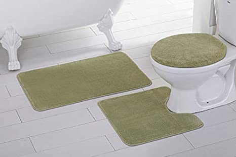 Bathroom Rug Sets Amazon.3pc Solid Sage Green Non Slip Bath Rug Set For Bathroom U Shaped Contour Rug Mat And Toilet Lid Cover New
