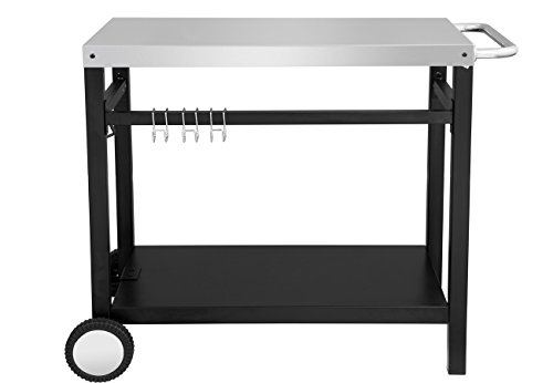 Royal Gourmet Double-shelf Movable Dining Cart Table,Commercial Multifunctional Stainless Steel Flattop Worktable (Patio Table Grill)