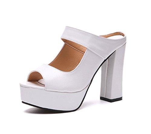 Spesso da Alto Moda Tacco Estate Sandali LBLX Donna da Scarpe Sandali Pesce Bianca Coreana Sandali Tacco Versione con ZHfCOqw