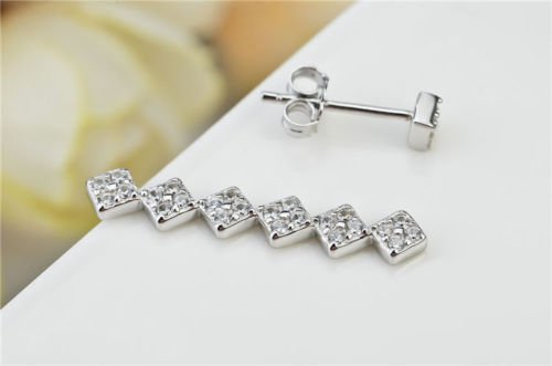 YFN Jewelry Cz Paved Prong Pin Trail up Ear Clear Crystal Hoop Stud Earrings in 925 Solid Sterling Silver