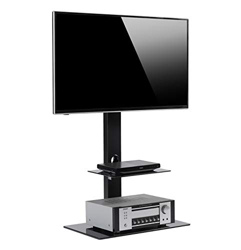 Rfiver Floor TV Stand with Universal Swivel Bracket Mount for 32 to 65 inch Plasma LCD LED OLED Flat or Curved Screen TV, Height Adjustable and Two Tempered Glass Audio-Video (Universal Floor Stands)