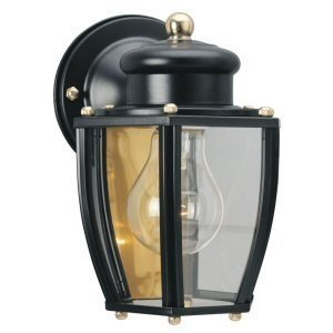 Westinghouse 6696100 One-Light Exterior Wall Lantern, Matte Black Finish on Steel with Clear Curved Glass (Exterior Lamps)