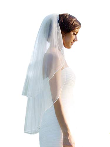 Barogirl 2 tier Wedding Veil Fingertip Length with Pencil Edge Soft Bridal Blusher Veil with Comb (Ivory without Applique) (Pencil Edge)