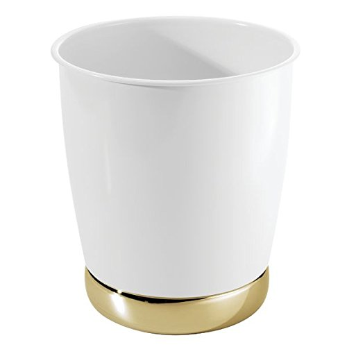 Small Trash Can Wastebasket, Garbage Container Bin for Bathrooms, Kitchens, Home Offices - Solid Steel Construction in Glossy White with a Soft Brass Finish Base ()