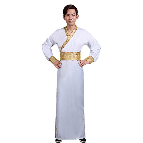 ZEVONDA Men's Chinese Clothes Ancient Traditional Clothing Hanfu Minister Cosplay Performances Costume, White/M -
