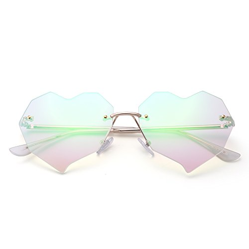 Heart Rimless Sunglasses Clear Flat Mirror Designer Eyeglasses Women with Rivets (Gold / Crystal - Designer Heart Sunglasses