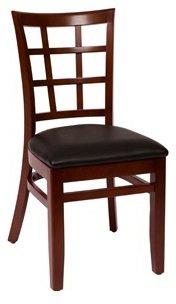 BFM Pennington Window Pane Chair Mahogany Black Vinyl Seat Model Lwc629Mhblv