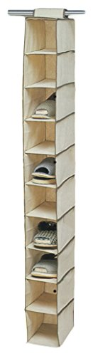 "Ziz Home Hanging Shoe Organizer for Closet, 10 Shelf, Tough Breathable Fabric Anti-mold 12""x6""x47"" 