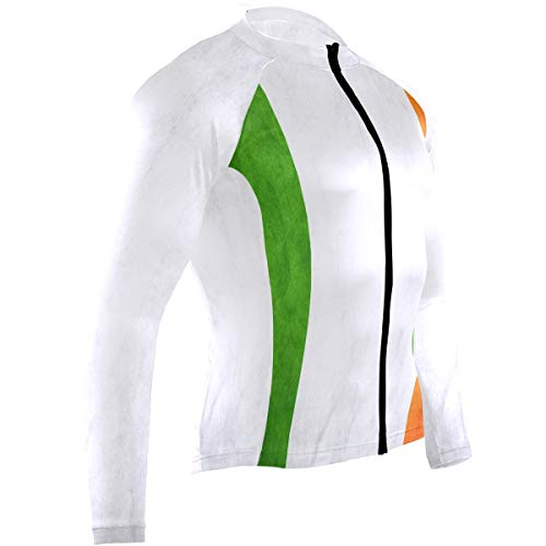 Cindly Irish Flag Men's Cycling Jersey Long Sleeve Bike Jacket Biking Bicycle Jersey Shirt
