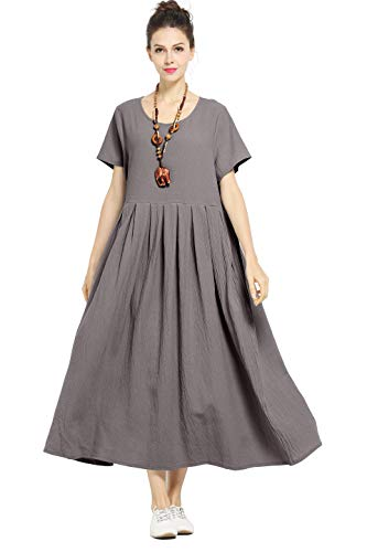 (Anysize Soft Linen&Cotton Loose Dress Plus Size Dress Spring Summer Dress F122A,Gray,5X Plus)