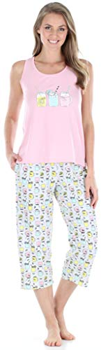 Sleepyheads Women's Sleepwear Jersey Lightweight Tank Top and Capri Pajama Set (SH1832-5039-2X)