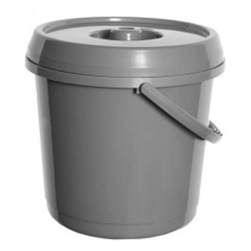 2 x 14L Litre GREY Plastic Bucket With Lid Carry Handle Ideal for Nappy Disposal Bin / Tub / Bucket / Animal Feed / Bird Seed