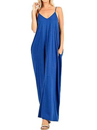 MixMatchy Women's Summer Casual Plain Flowy Pockets Loose Beach Cami Maxi Dress Sapphire 3X